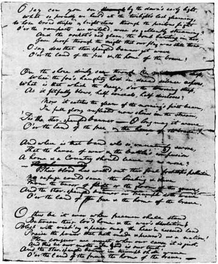 "Francis Scott Key's original manuscript copy of his ""Star-Spangled Banner"" poem."