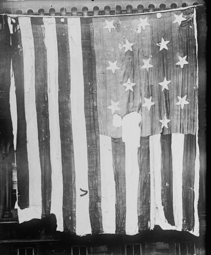 "The 15-star, 15-stripe ""Star Spangled Banner Flag"" which inspired the poem below."