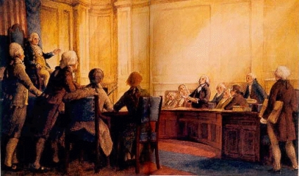First Congress listens to Madison present Bill of Rights.