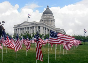 364 U.S. flags on the west lawn of Utah's State Capitol, one flag for each of Utah's Vietnam War dead.