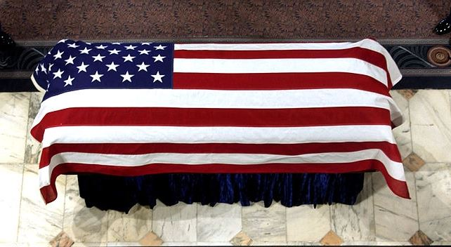 Draping a Casket with the U.S. Flag